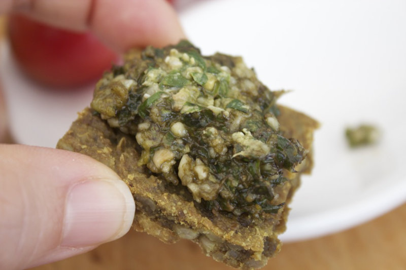 The most versatile vegan basil pesto. One recipe, four ways. Spread over crackers or pizza, stir through pasta or roll inside zucchini. Store in a glass jar