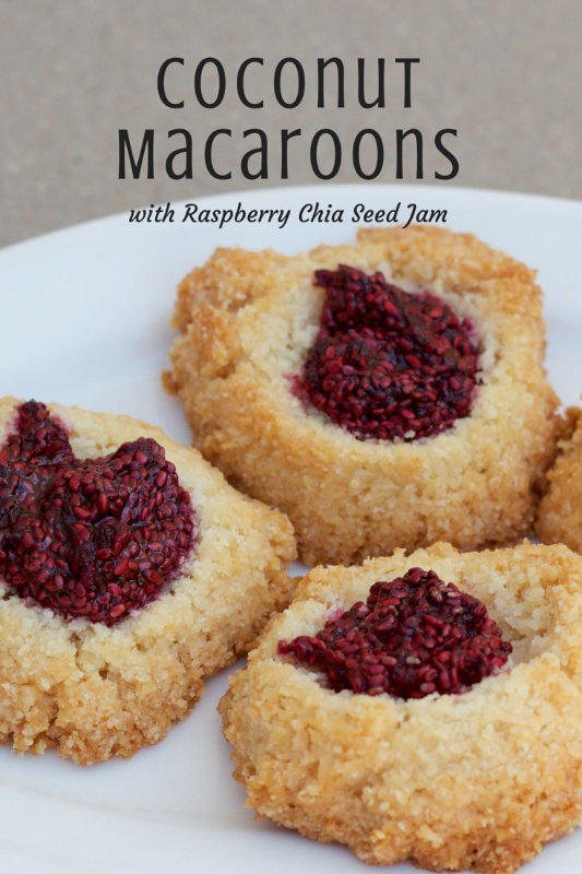 Macaroons or macarons? Coconut macaroons, with just the right amount of crunch and lots of coconut, topped with raspberry chia seed jam, the perfect cookie.
