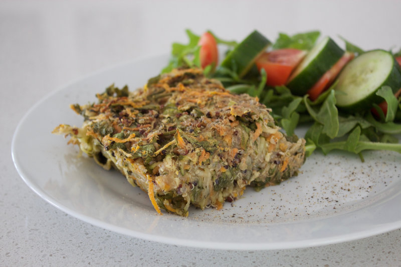 Vegetable quinoa loaf uses your favourite vegetables and pre-cooked quinoa. Mix it with some flour and pack it into an oven proof dish. Full of protein