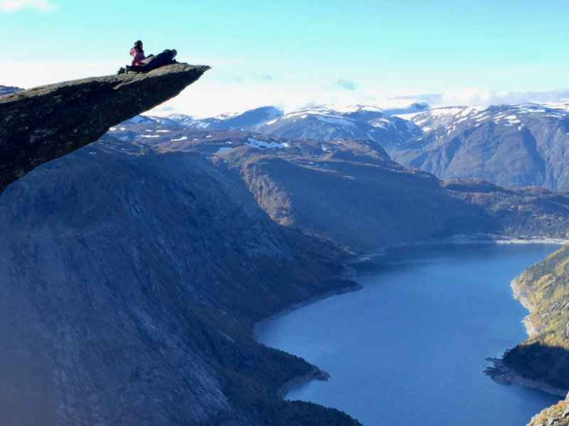 A hike to Trolltunga would have to be high on the list of the most spectacular things to do in the world. Trolltunga means troll tongue as the rock juts out