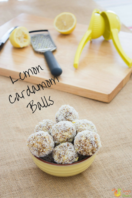Lemon cardamom balls - lemony, zesty, peppy - the perfect bite sized pick me up. 10 mins to blend everything together and roll in coconut.