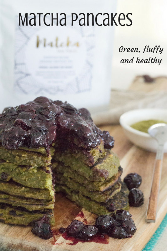 Matcha pancakes use matcha green tea powder which is filled with anti-oxidants to create big, fluffy pancakes just like the regular ones, but green.