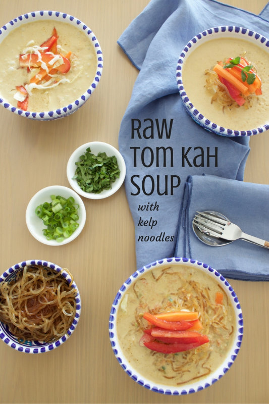 Raw tom kah soup is full of flavour with coconut cream, garlic, ginger, turmeric and coriander. Because it's raw it can be on the table in less than 30mins.