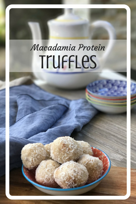Macadamia protein truffles are packed with macadamias, coconut and protein to create a creamy, soft truffle centre covered in coconut.