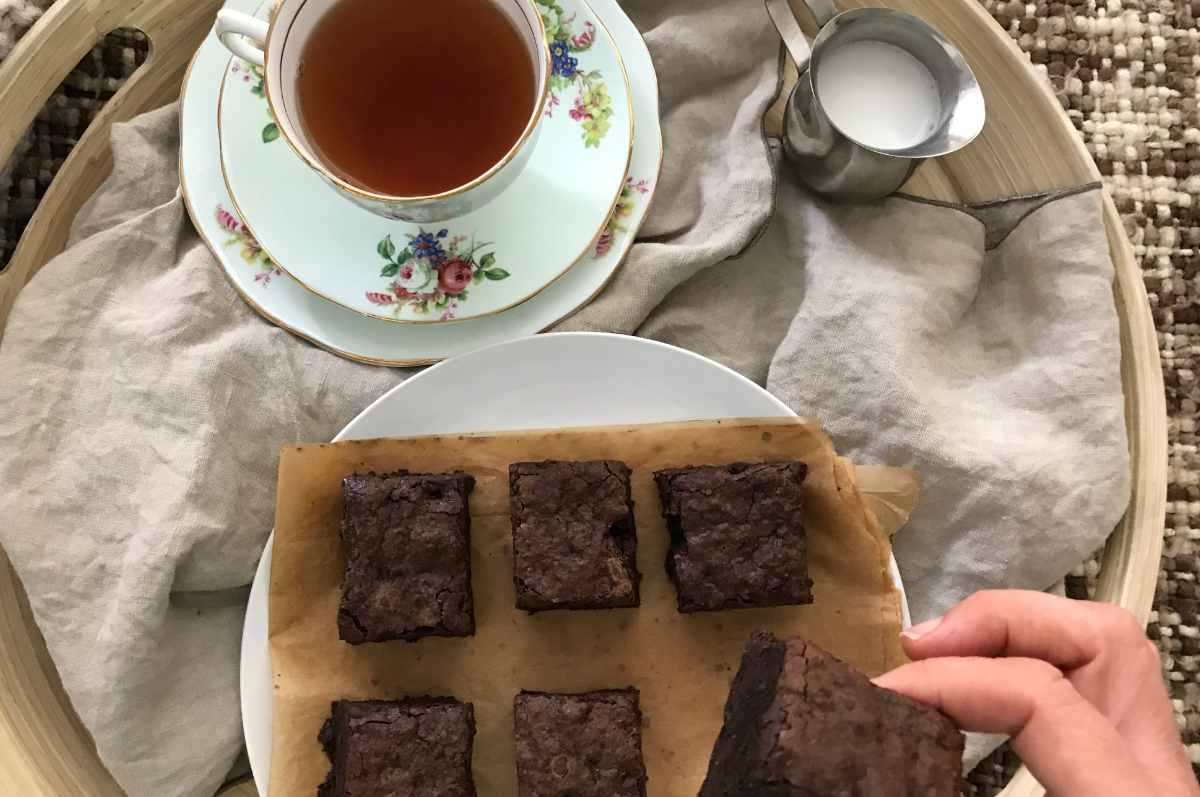 This best ever chocolate brownie recipe really is the best ever chocolate brownie. Rich and fudgie with chocolate bits. It's also nut free and dairy free.