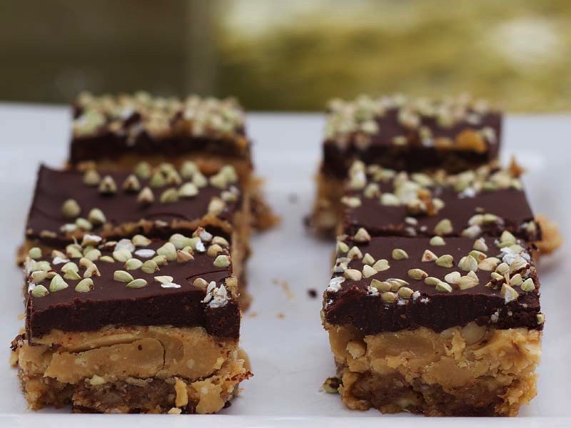 chocolate peanut butter slice with buckinis on top
