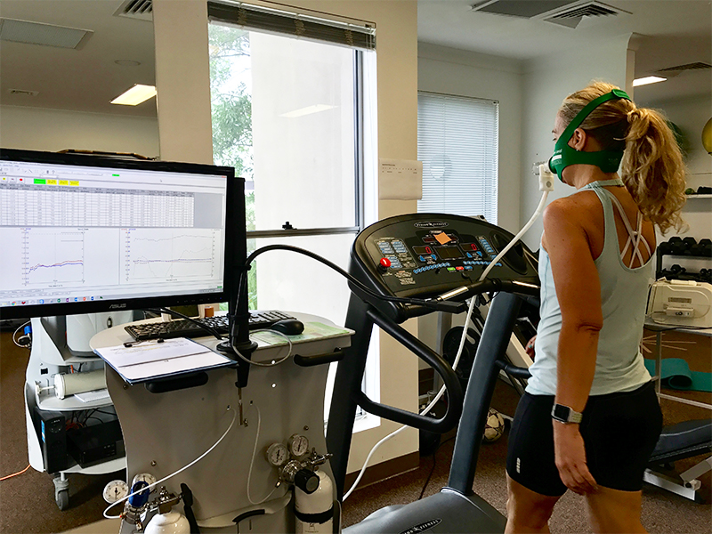 Women on treadmill doing VO2Max test