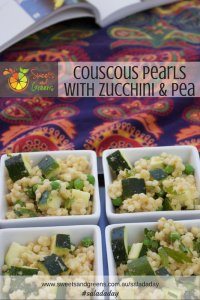 4 white dishes with zucchini and pea couscous pearl salad.