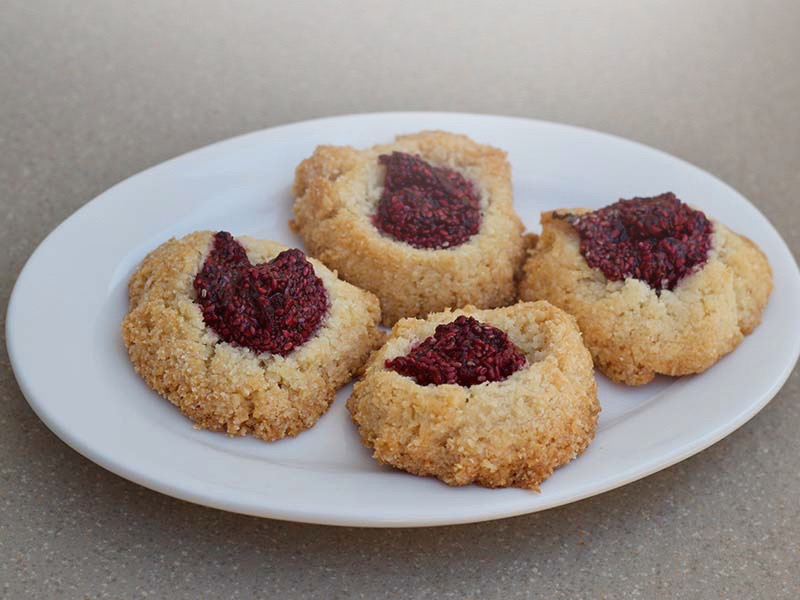 Coconut Macaroons with Raspberry Chia Seed Jam