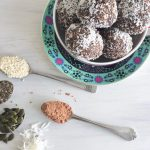 vegan recipes food protein balls nut free seeds cacao coconut healthy easy to make by Sweets and Greens