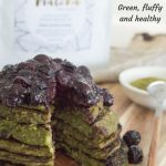 Stack of matcha pancakes with blueberry chia jam.