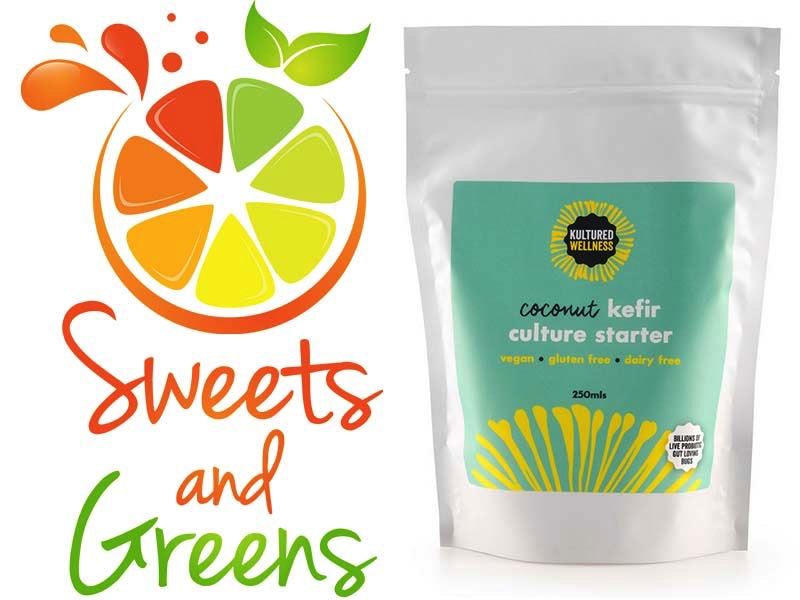 coconut kefir starter and sweets and greens logo