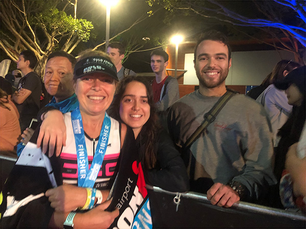 At the finish line of Cairns ironman