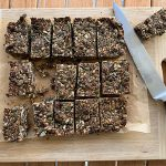 nut free protein bars sliced on a chopping board